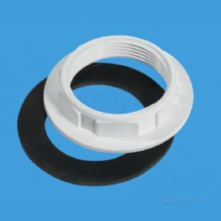 "McAlpine BN3 White plastic with Rubber washer backnut 1 1/2"" x 85mm flange"